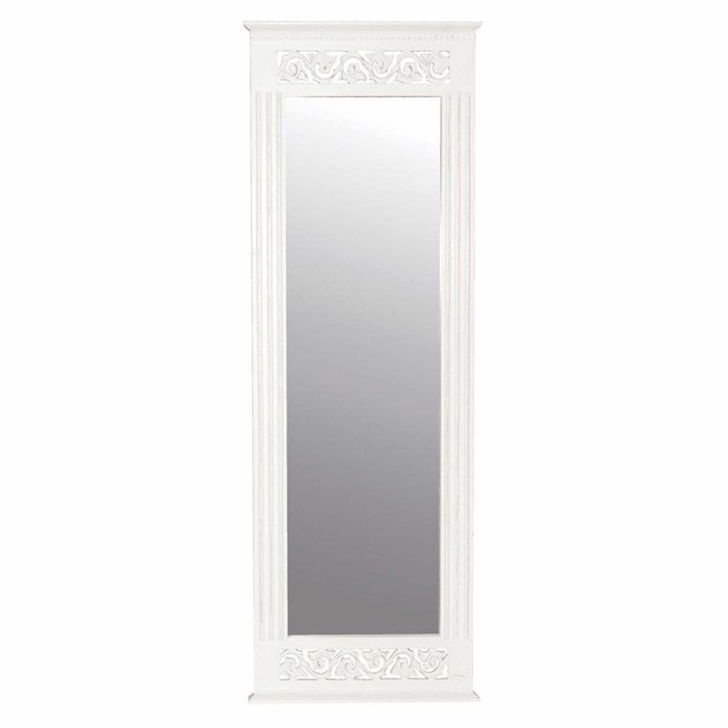 Tall Slim White Painted Belgravia Shab Chic Wall Dressing Mirror In Slim Wall Mirror (Image 14 of 15)