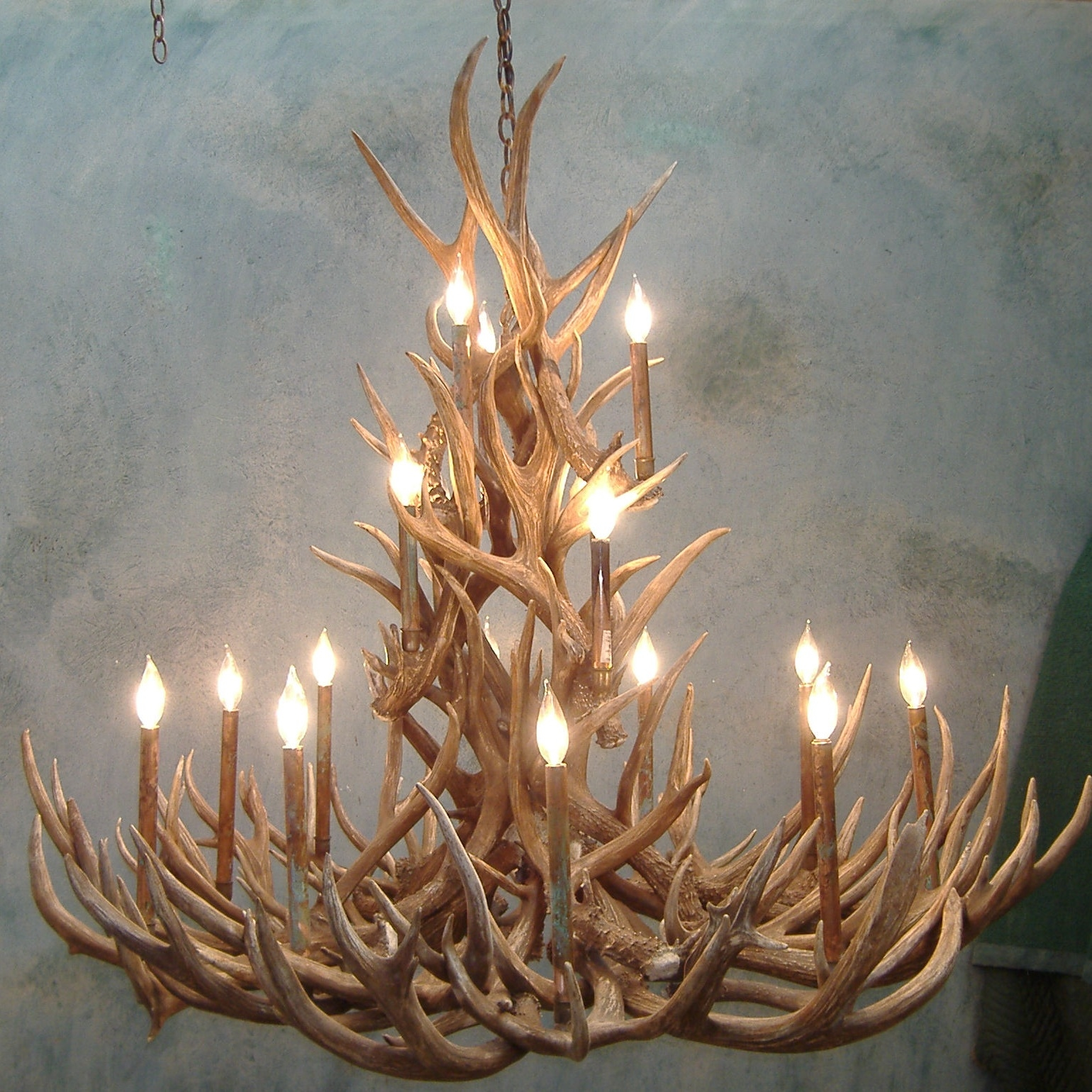 Tall Spruce Mule Deer Antler Chandelier Intended For Antler Chandeliers And Lighting (Image 12 of 15)