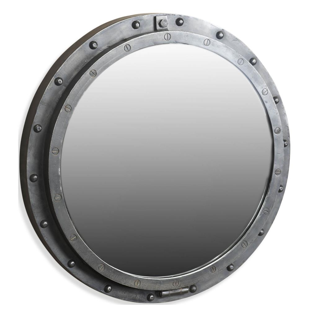Taloro Small Industrial Loft Porthole Style Mirror Kathy Kuo Home Intended For Porthole Style Mirrors (Image 15 of 15)