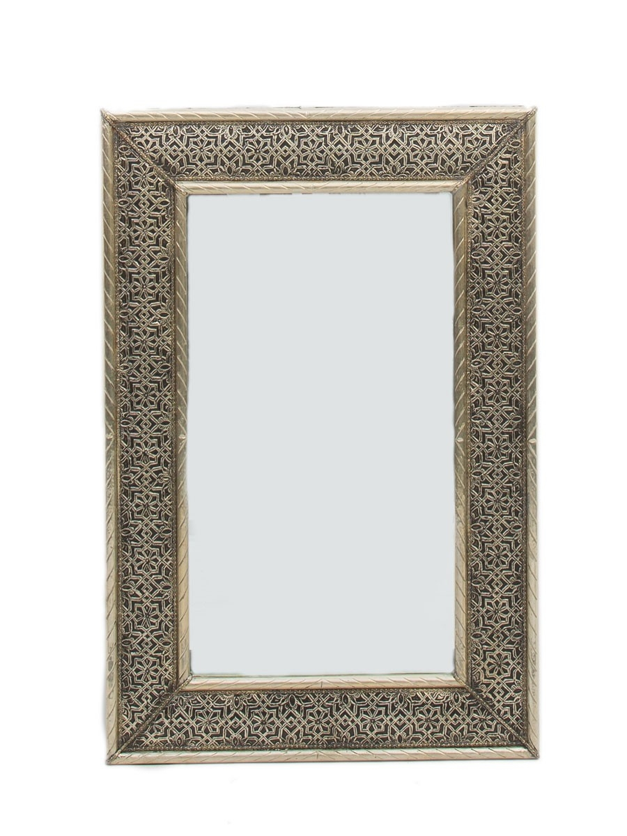 Tangier White Metal Mirror 75cm X 50cm Within White Metal Mirror (Image 12 of 15)