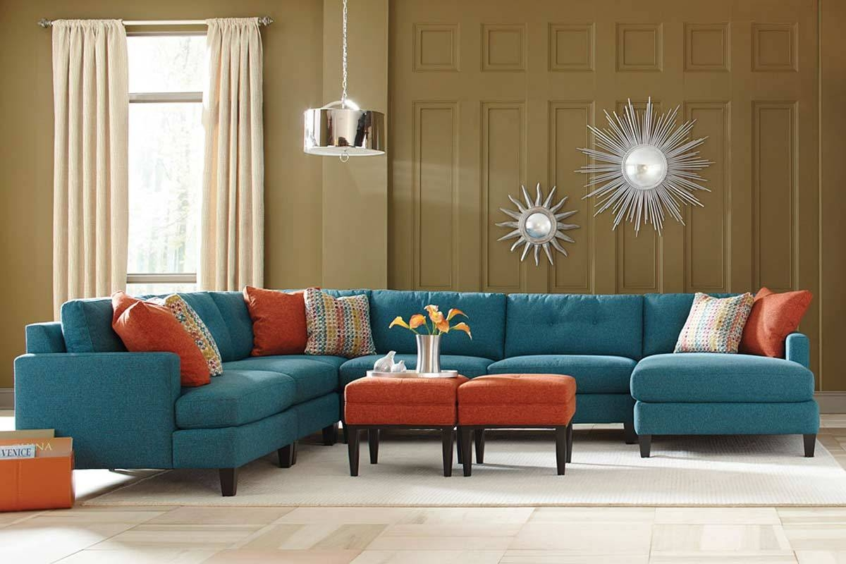 Teal Color Custom Sectional Sofa Made In The Usa Los Angeles With Regard To Custom Made Sectional Sofas (Image 15 of 15)