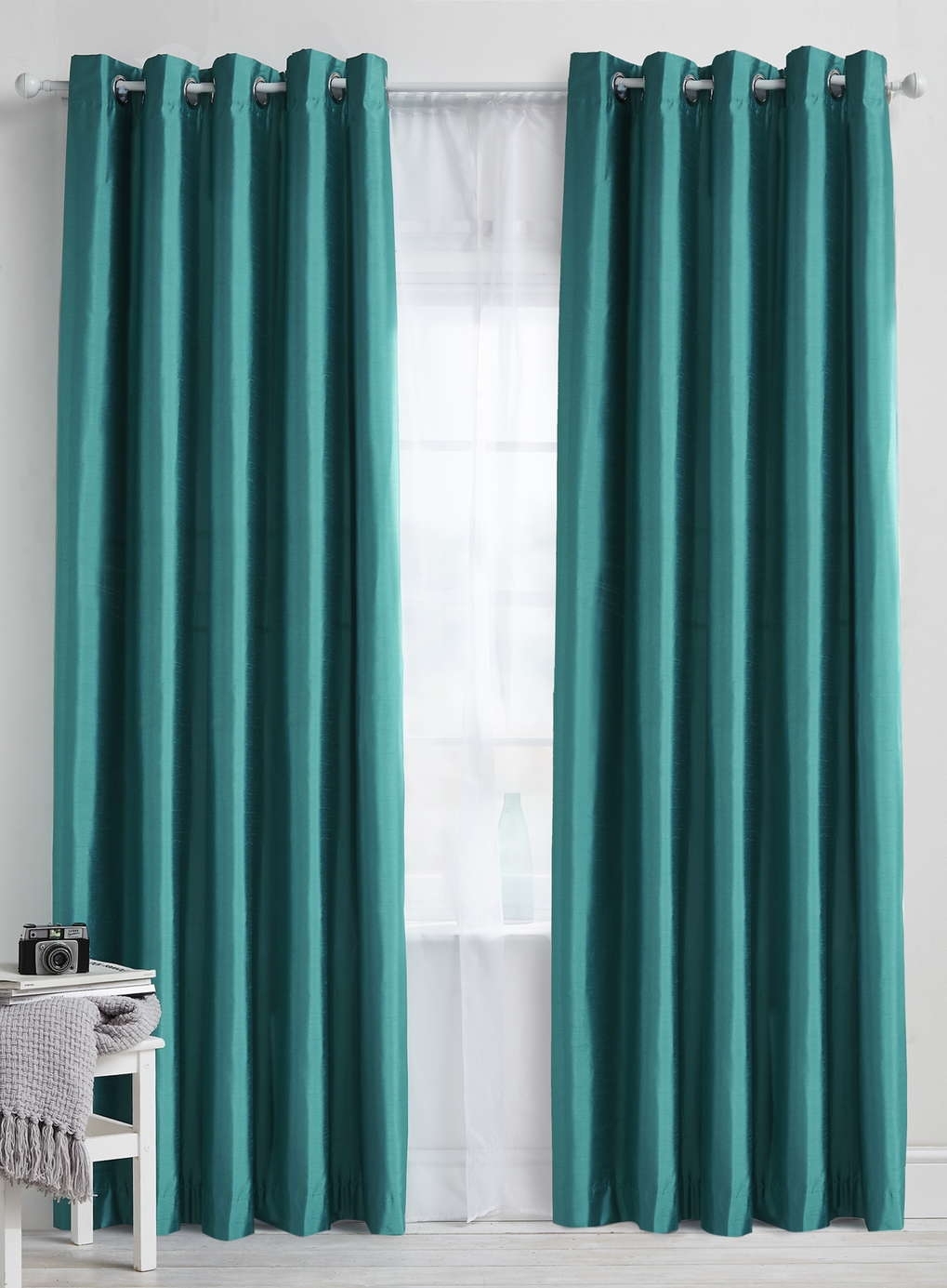 Teal Plain Faux Silk Blackoutthermal Eyelet Curtain Bhs Regarding Thermal And Blackout Curtains (Image 13 of 15)