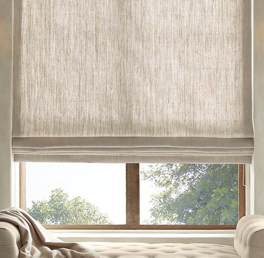 Textured Belgian Linen Shades Restoration Hardware Fenster Intended For Linen Roller Blinds (Image 13 of 15)