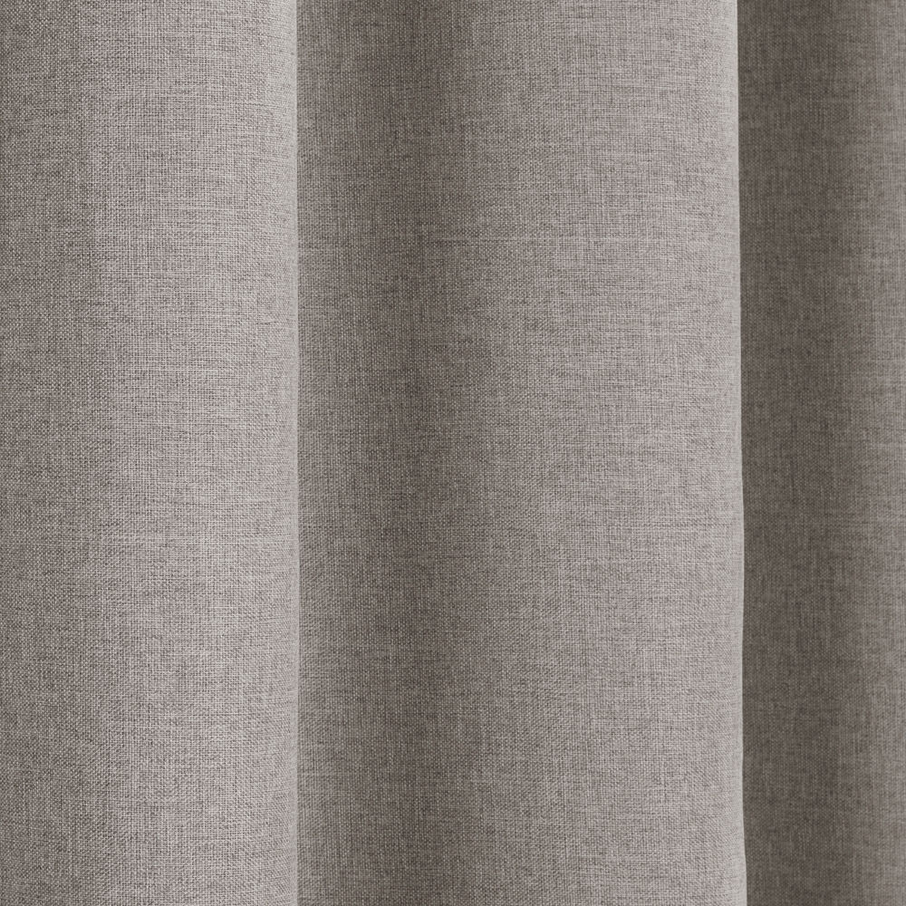 Textured Woven Plain Thermal Blackout Linen Look Eyelet Grommet Within Plain Linen Curtains (Image 14 of 15)