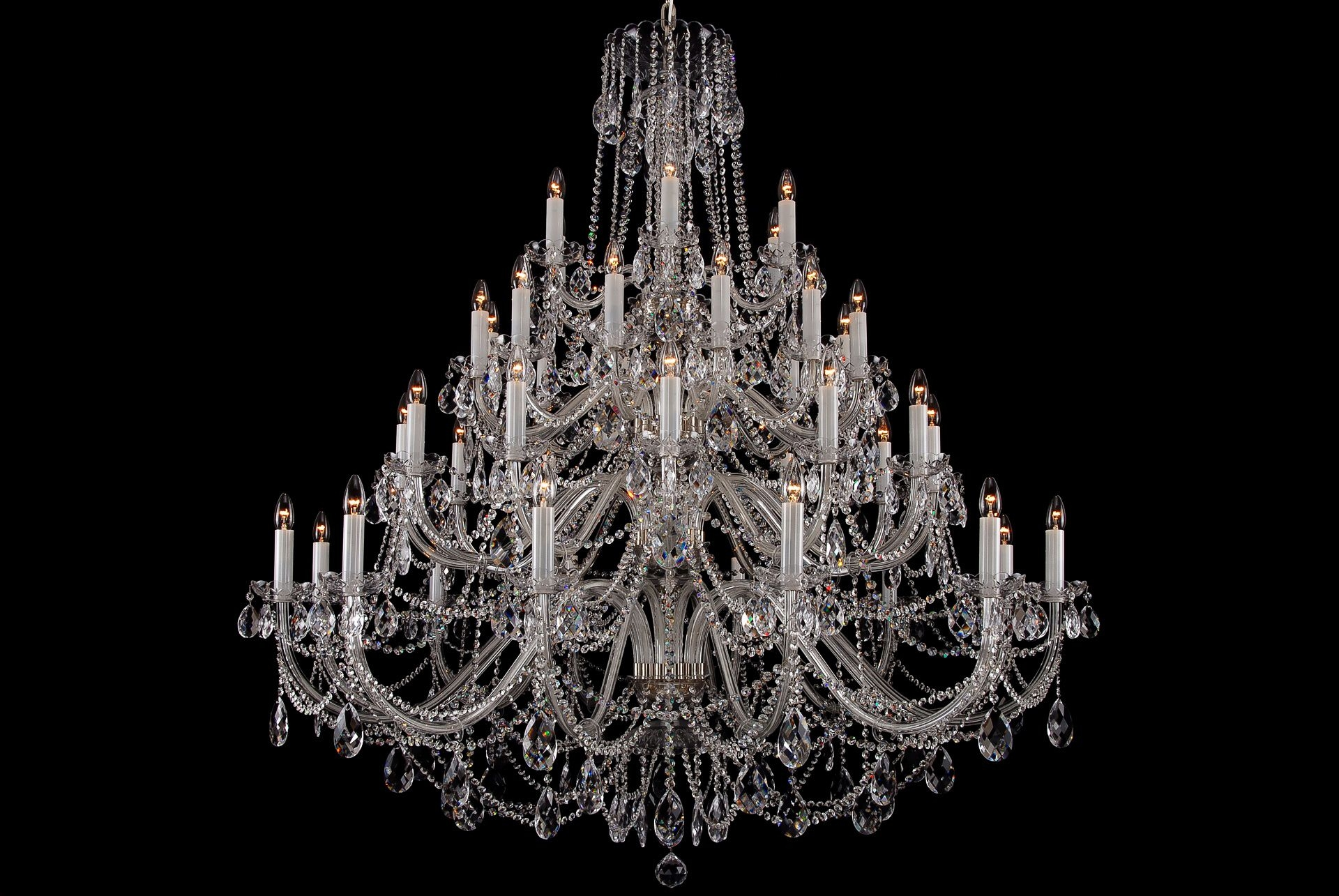 The Largest Clear Crystal Chandelier With Silver Coloured Metal Intended For Huge Crystal Chandeliers (Image 15 of 15)