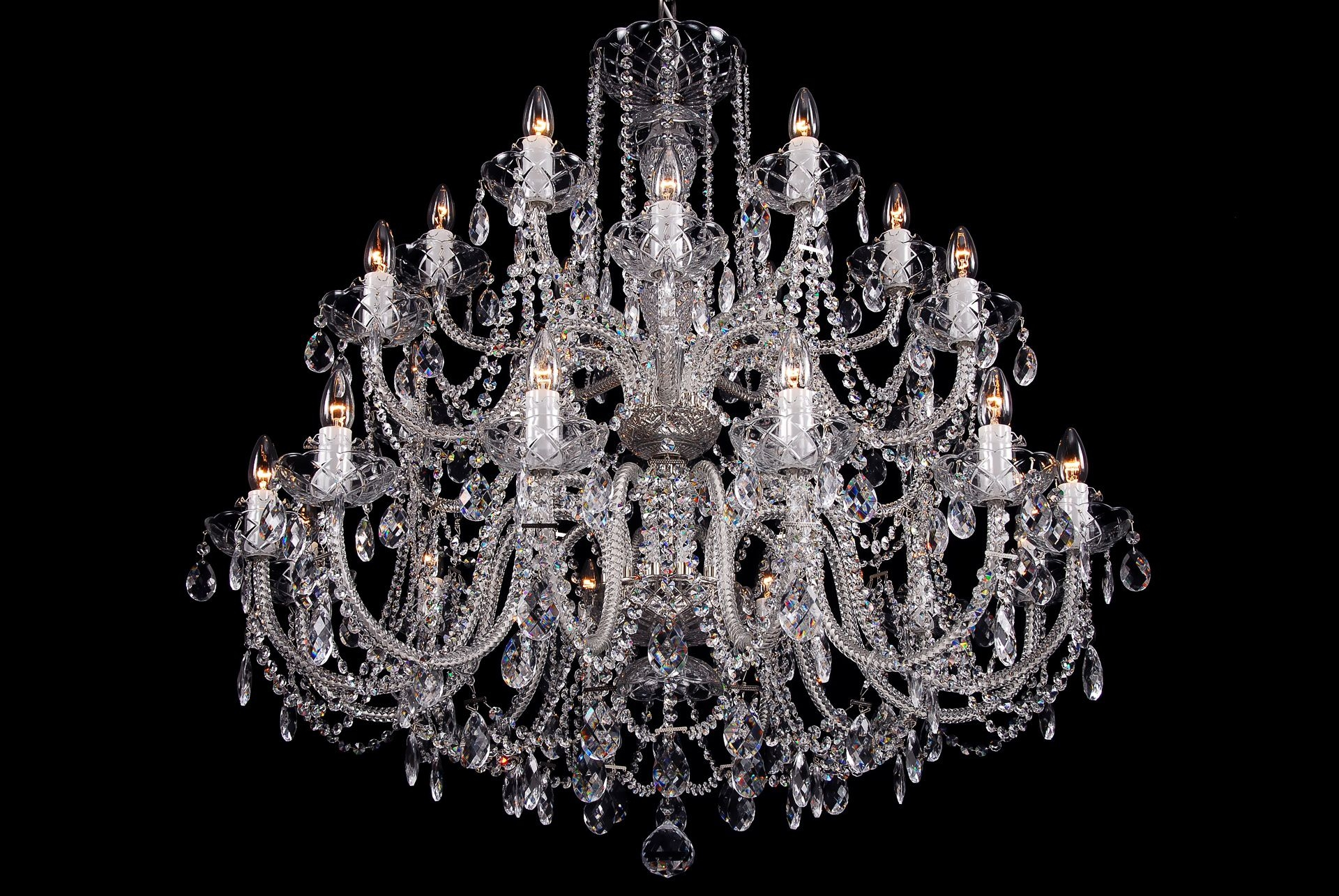 The Largest Clear Crystal Chandelier With Silver Coloured Metal Regarding Huge Crystal Chandelier (Image 15 of 15)
