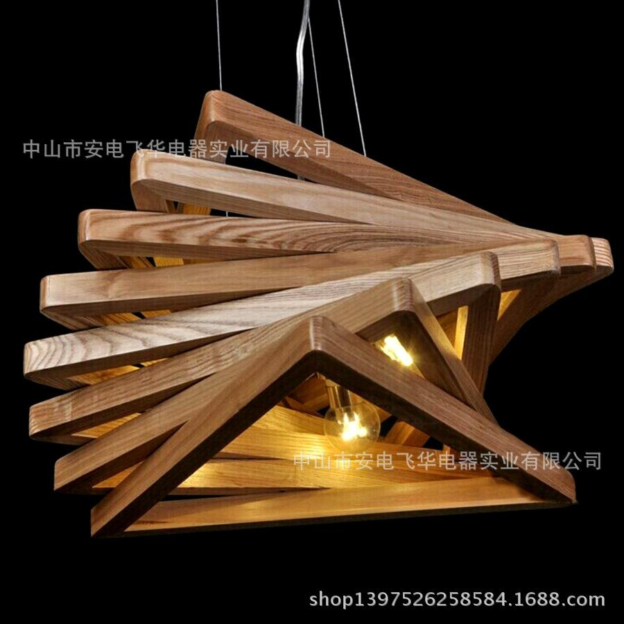 The New Chinese Modern Minimalist Wood Rotating Shilly Creative Pertaining To Chinese Chandelier (Image 15 of 15)
