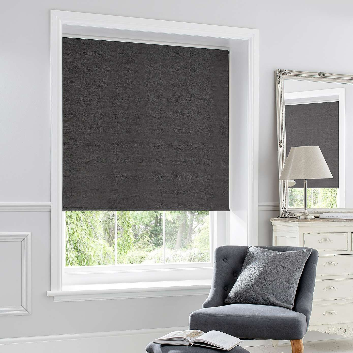 Thermal Luxe Blackout Cinder Roller Blind Eyebrows Grey And Pertaining To Blackout Thermal Blinds (Image 14 of 15)