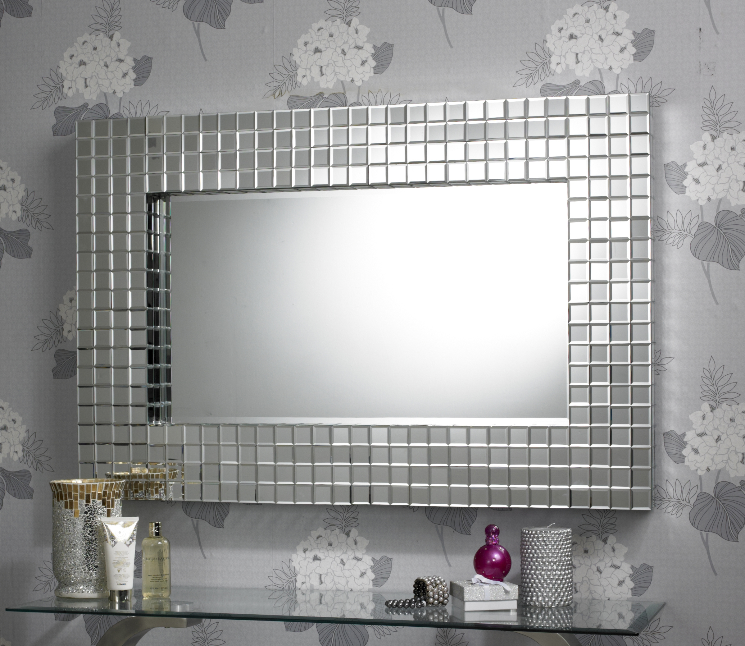 This Attractive Rectangular Art Deco Mirror Features A Broad Built Inside Large Mosaic Mirrors (Image 15 of 15)