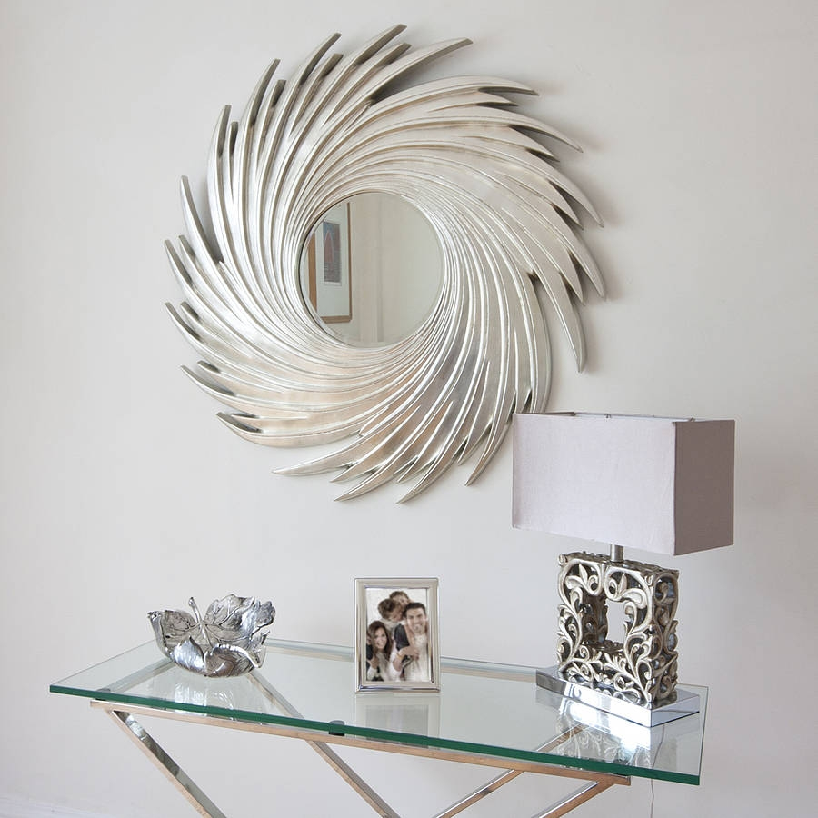 This Elegant Round Silver Swirl Wall Mirror Is Made Of Wood With Intended For Silver Round Mirrors (Image 14 of 15)