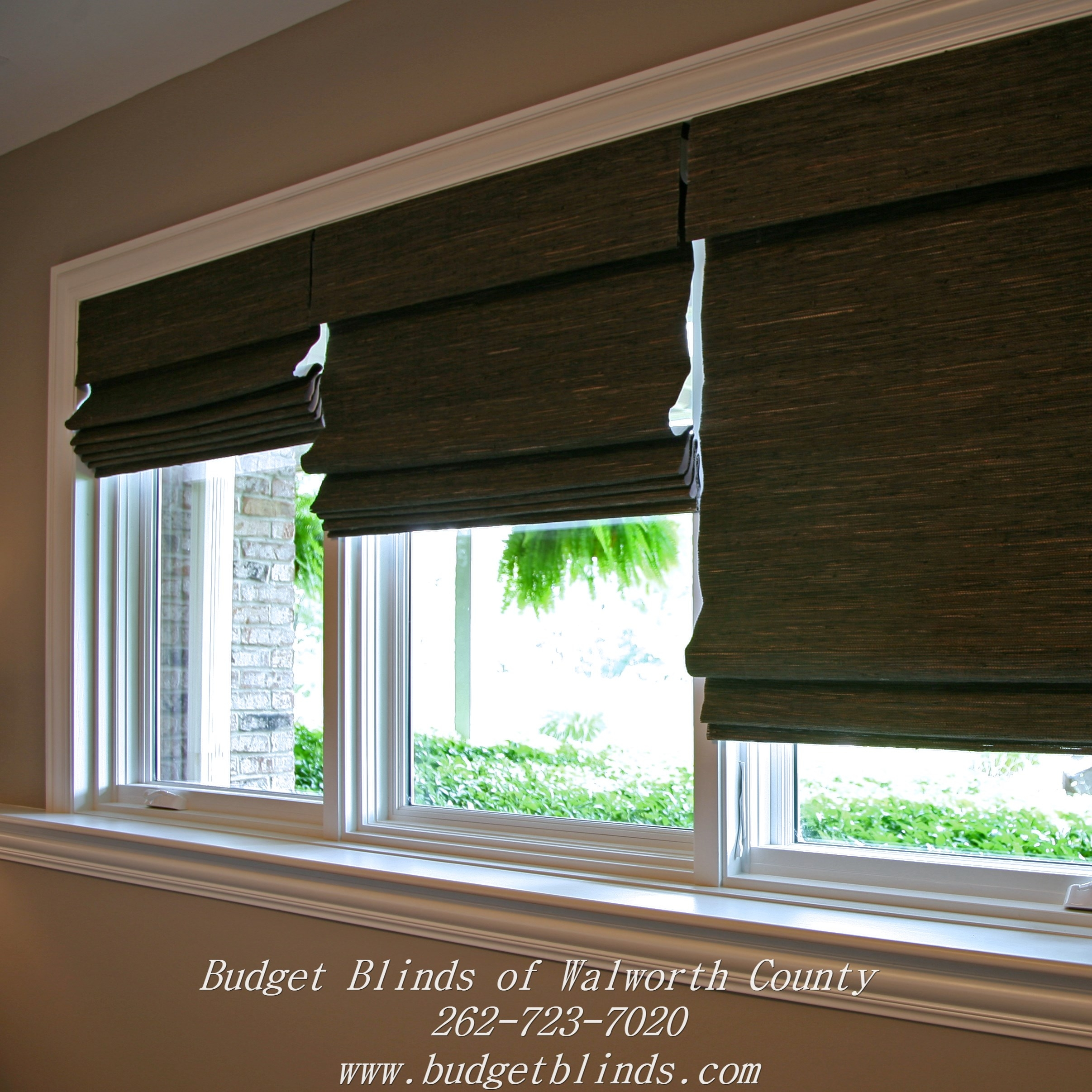Three Natural Woven Shades Side Side With A Blackout Liner On Inside Roman Blinds With Blackout Lining (Image 15 of 15)