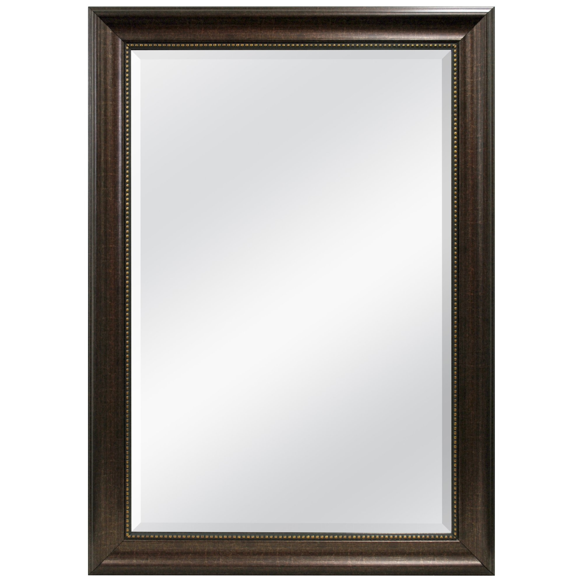 Three Posts Beaded Bronze Beveled Wall Mirror Reviews Wayfair Pertaining To Bronze Wall Mirrors (View 3 of 15)