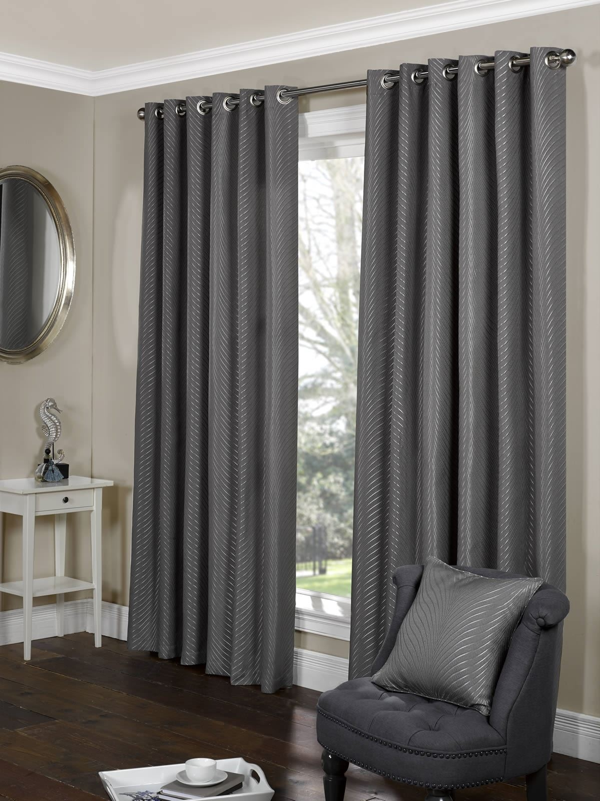 Tibet Charcoal Silver Lined Eyelet Ringtop Curtains Heavy Weight In Heavy Lined Curtains (Image 15 of 15)