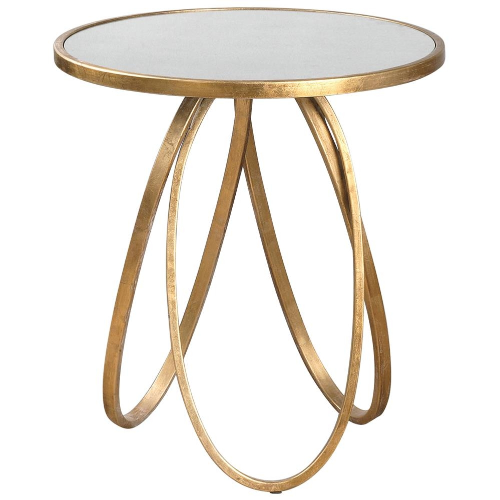 Tiff Hollywood Regency Antique Mirror Gold Oval Ring End Table Pertaining To Gold Table Mirror (Image 13 of 15)