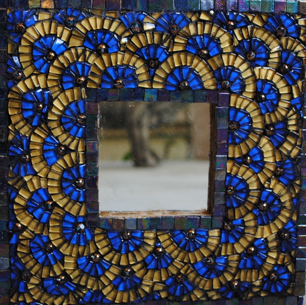 Tile Mosaic For Sale Blue And Gold Mosaic Mirror Artsyhome Intended For Mosaic Mirrors For Sale (Image 15 of 15)