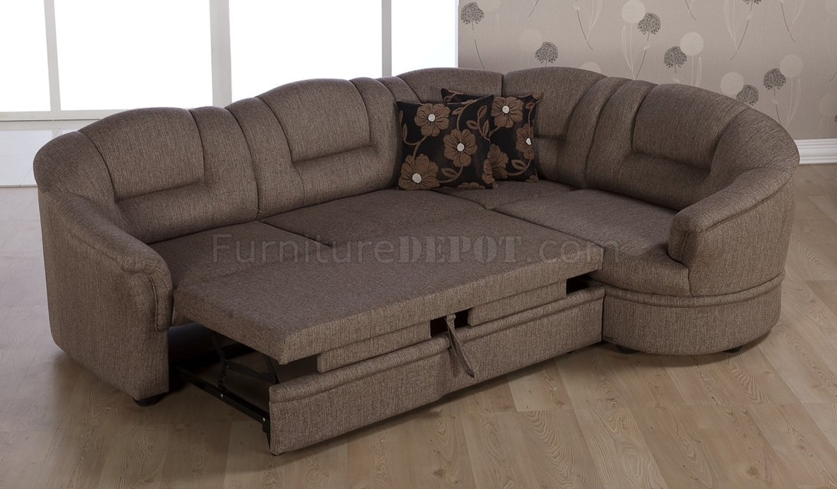 Tone Brown Fabric Convertible Sectional Sofa Bed Wstorage Within Convertible Sectional Sofas (Image 12 of 15)