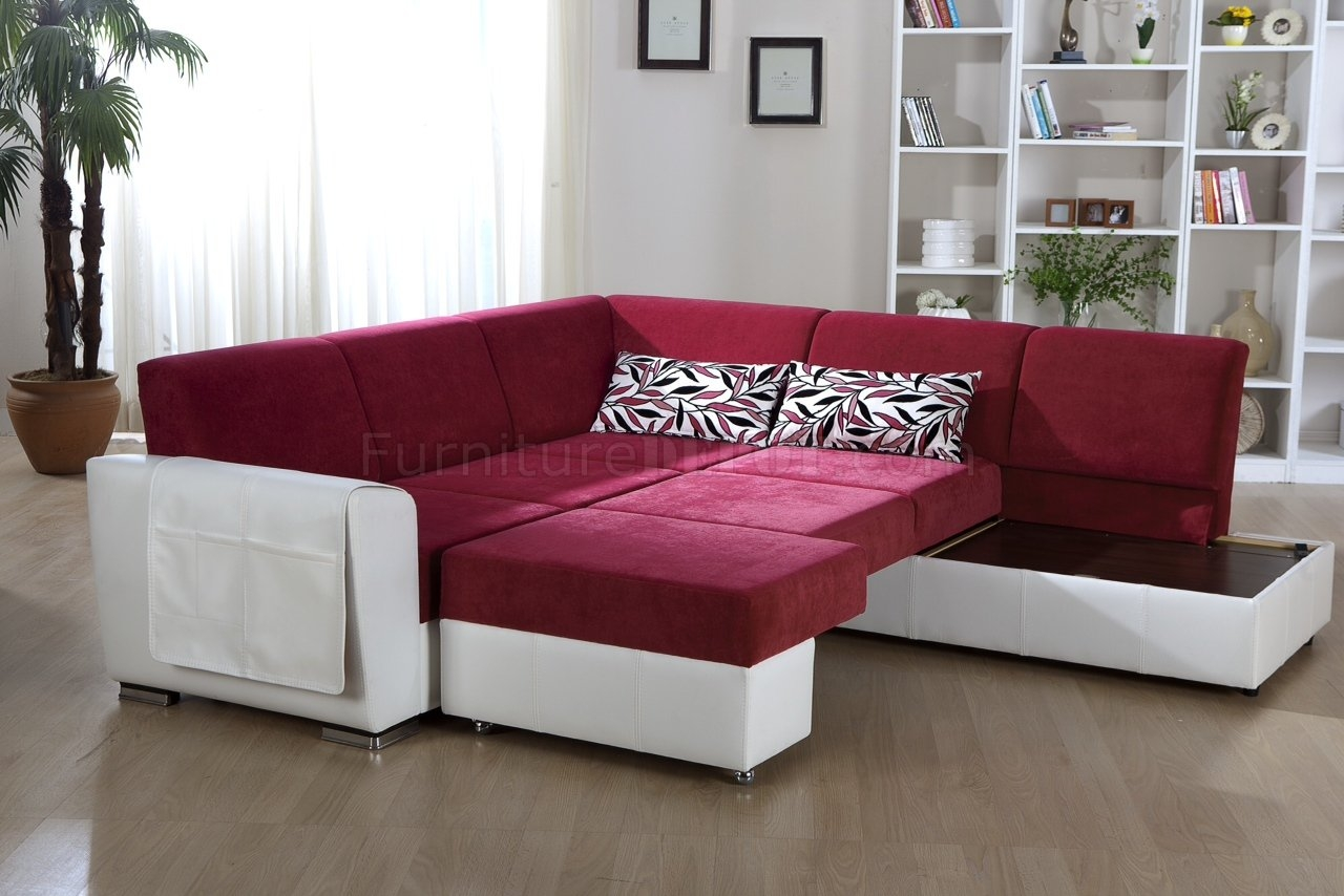 Tone Pink White Convertible Sectional Sofa Wstorage Throughout Convertible Sectional Sofas (Image 13 of 15)