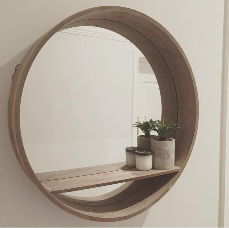 Top 20 Homewares At Kmart Round Mirror With Shelf Rrp 2900 Top Regarding Large Round Wooden Mirror (Image 13 of 15)