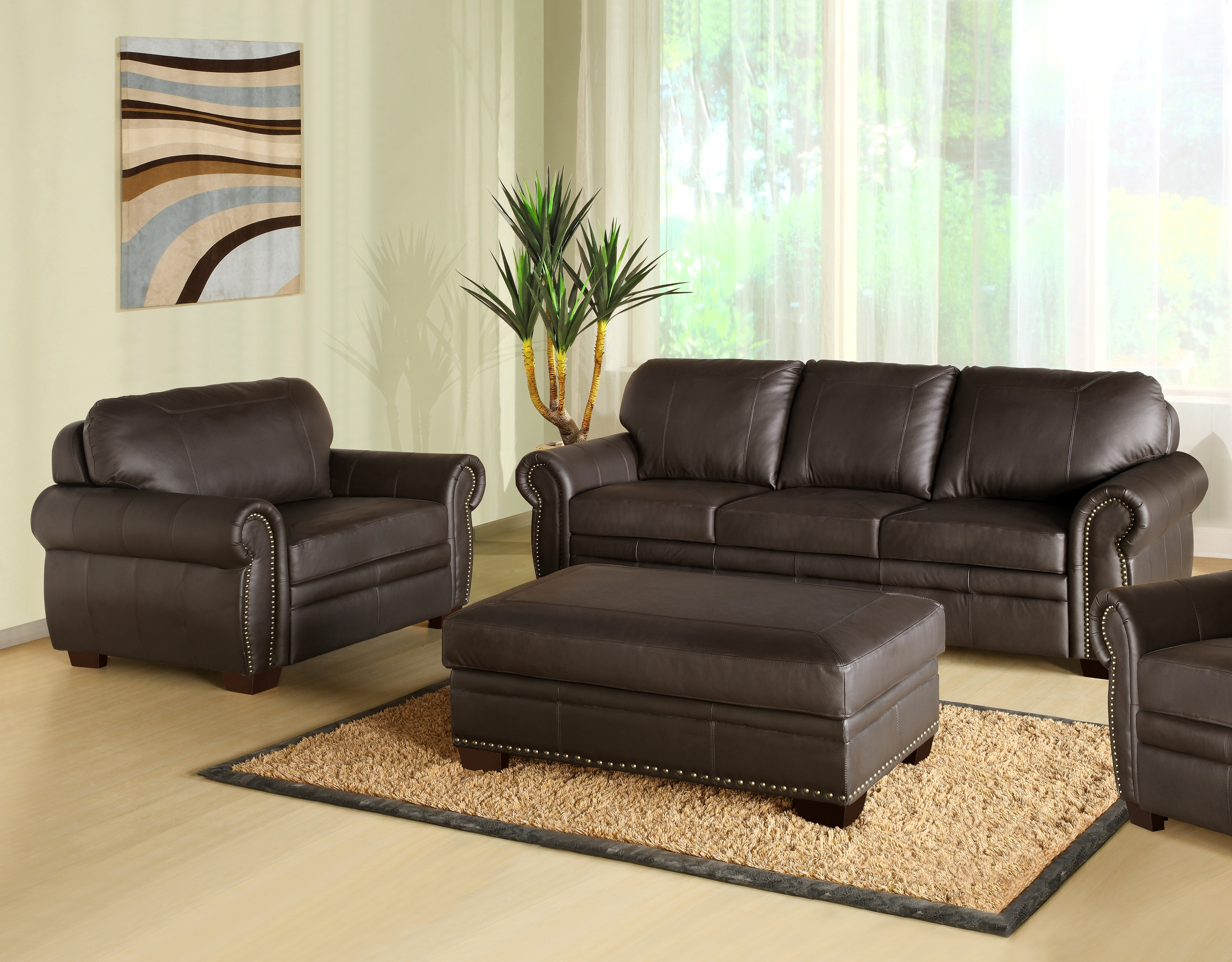 Top Sofa And Ottoman With Image 9 Of 15 Carehouse Inside Abbyson Living Charlotte Dark Brown Sectional Sofa And Ottoman (Image 15 of 15)