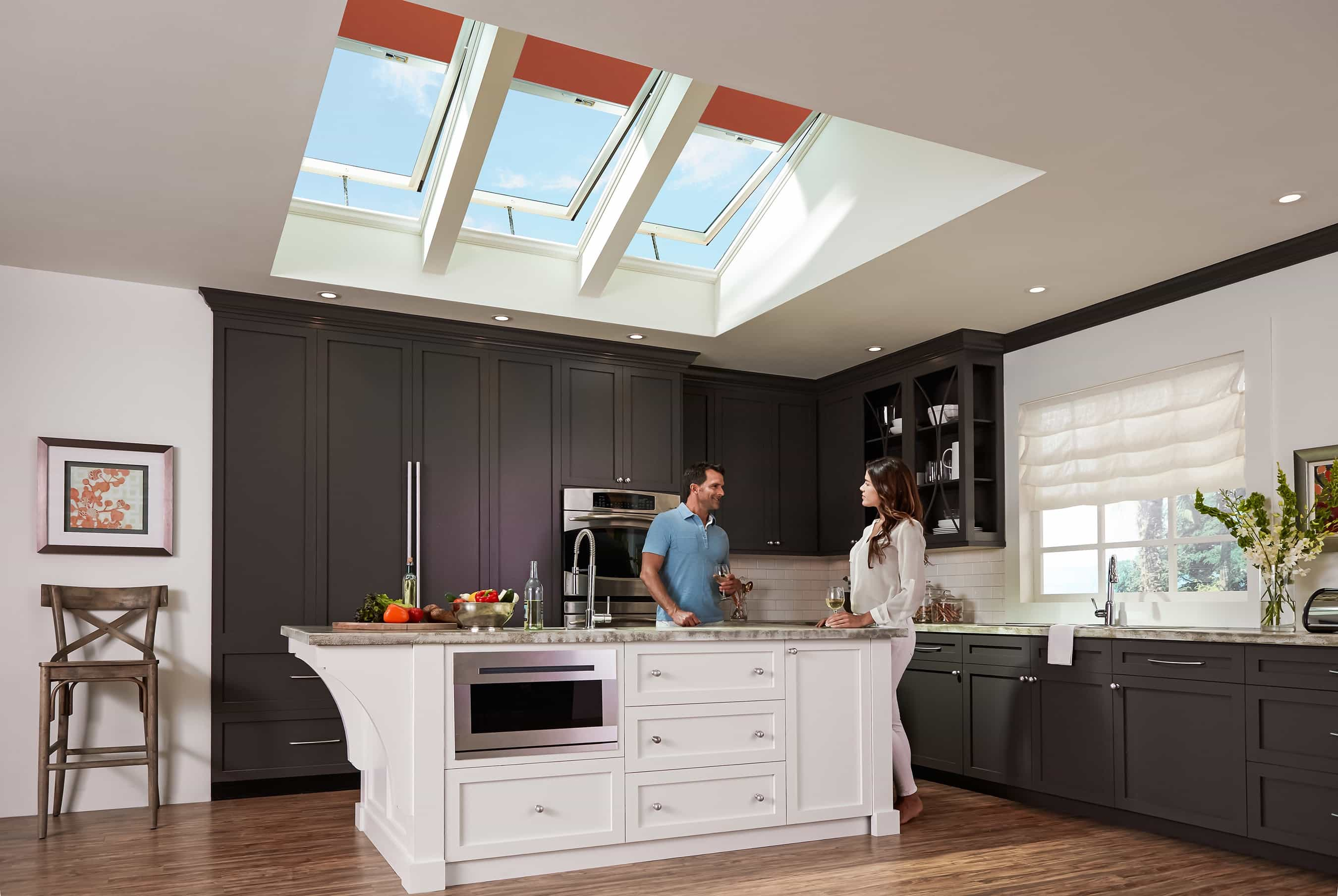 Traditional Kitchen With Modern Skylight Blackout Shade (View 8 of 25)
