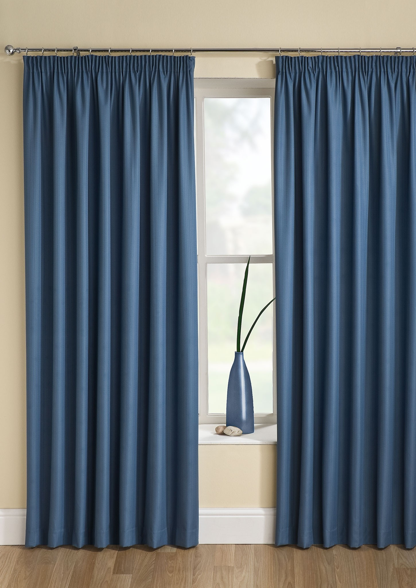 Tranquility Wedgewood Thermal Jacquard Pencil Pleat Curtains Throughout Pencil Pleat Curtains (Image 15 of 15)