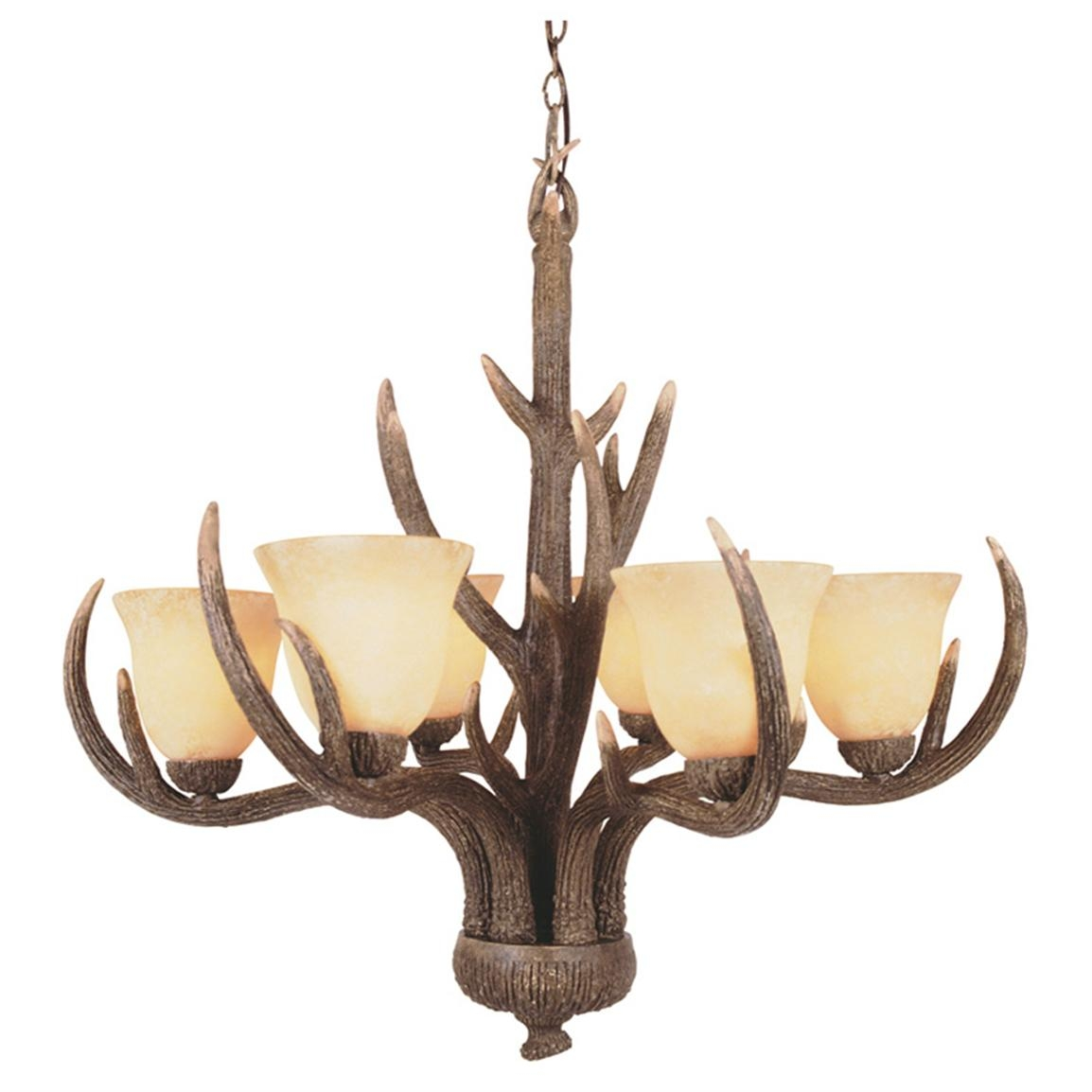 Trans Globe Lighting 6 Light Replica Antler Chandelier 173558 With Antler Chandeliers And Lighting (Image 13 of 15)