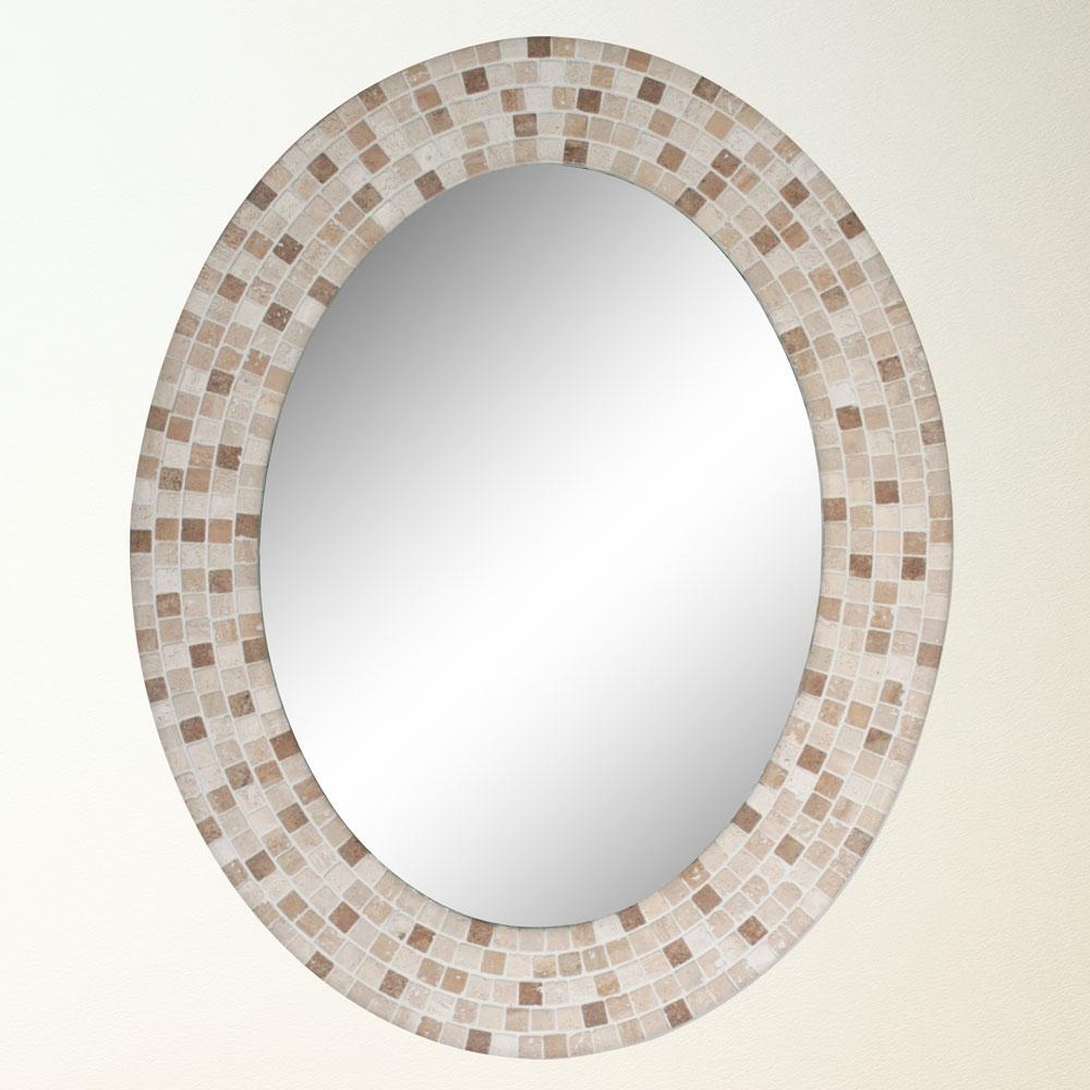 Travertine Mosaic Oval Bathroom Mirror Katon Long I Could See Within Long Oval Mirror (Image 15 of 15)