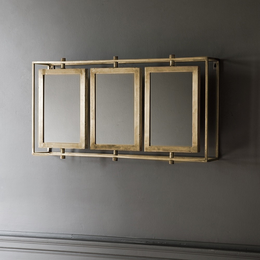 Tribeca Triple Wall Mirror Antique Brass Regarding Antique Triple Mirror (View 14 of 15)