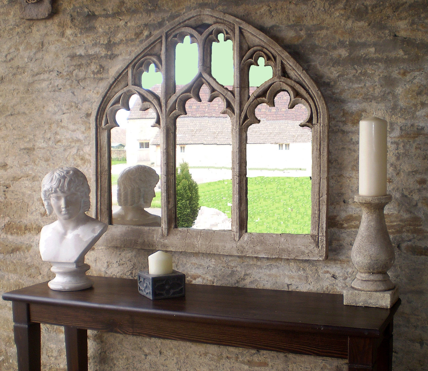 Triple Arch Over Mantel Church Window Mirror In Antique Pertaining To Antique Triple Mirror (Image 12 of 15)