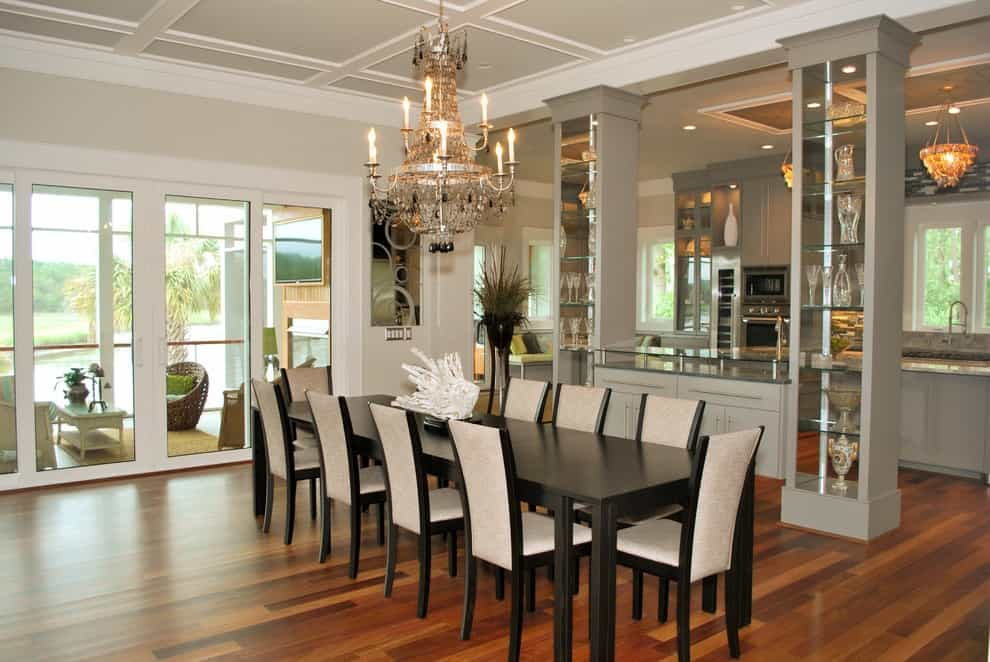 Tropical Dining Room Featured With Modern Center Curio Cabinets (Image 9 of 10)