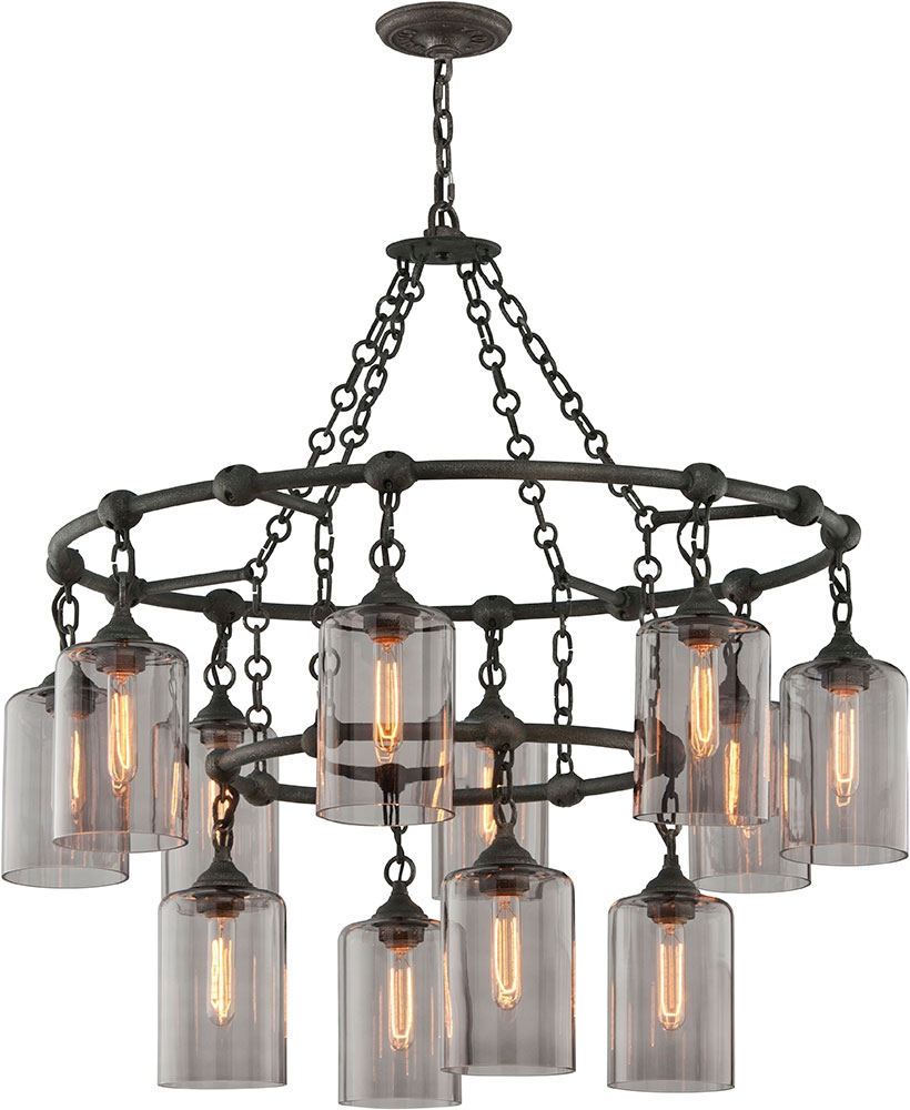 Troy F4425 Gotham Hand Worked Wrought Iron Chandelier Lamp Tro F4425 With Regard To Wrought Iron Chandelier (Image 10 of 15)