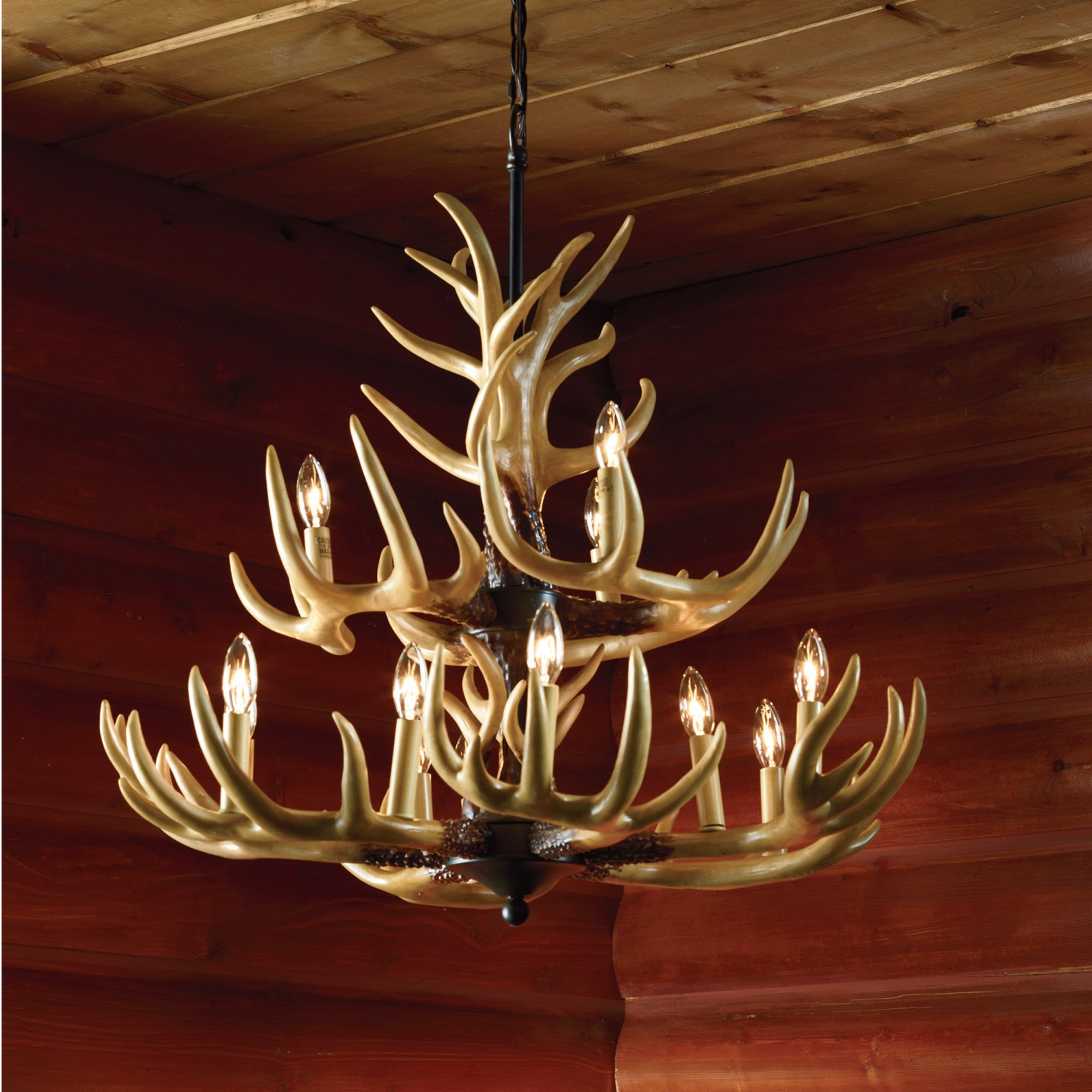 Twelve Light Deer Antler Chandelier Lighting 36in Chain Www With Antler Chandelier (Image 11 of 15)