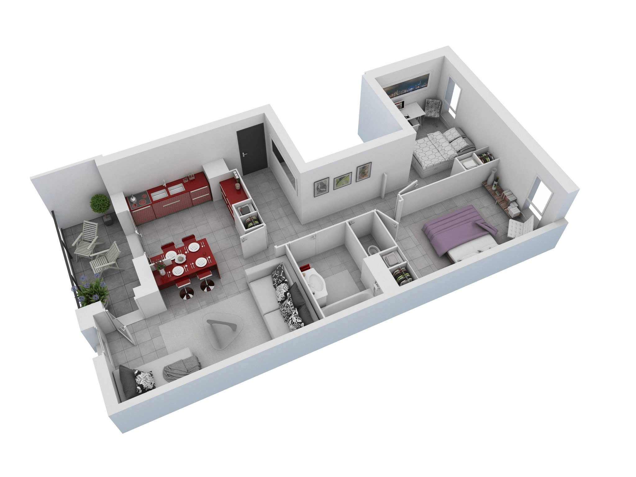 Two Bedroom Hall Kitchen Apartment Layout Plans 3D (Image 16 of 17)