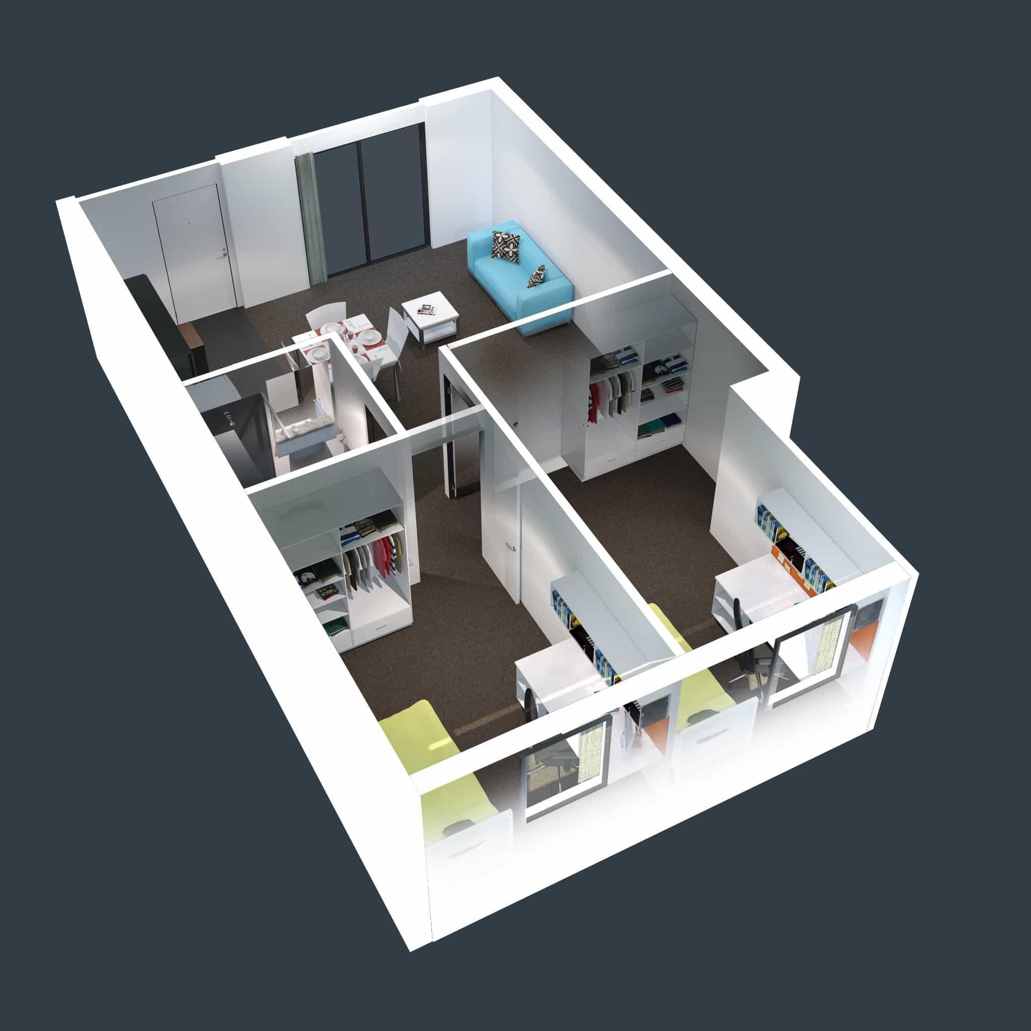 Two Bedroom Small House Layout Plans 3D (Image 17 of 17)