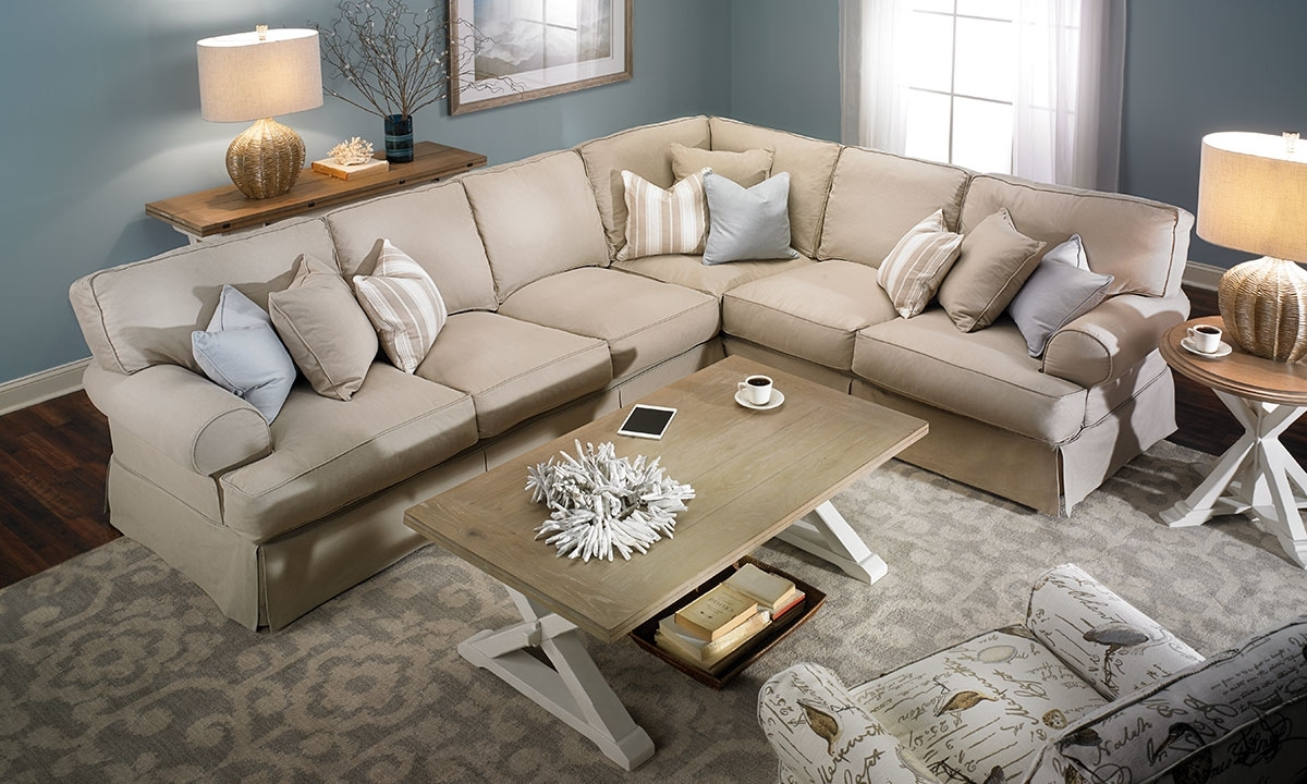 Two Lanes Natural Classic Slipcovered Sectional Sofa Haynes Pertaining To Classic Sectional Sofas (Image 14 of 15)