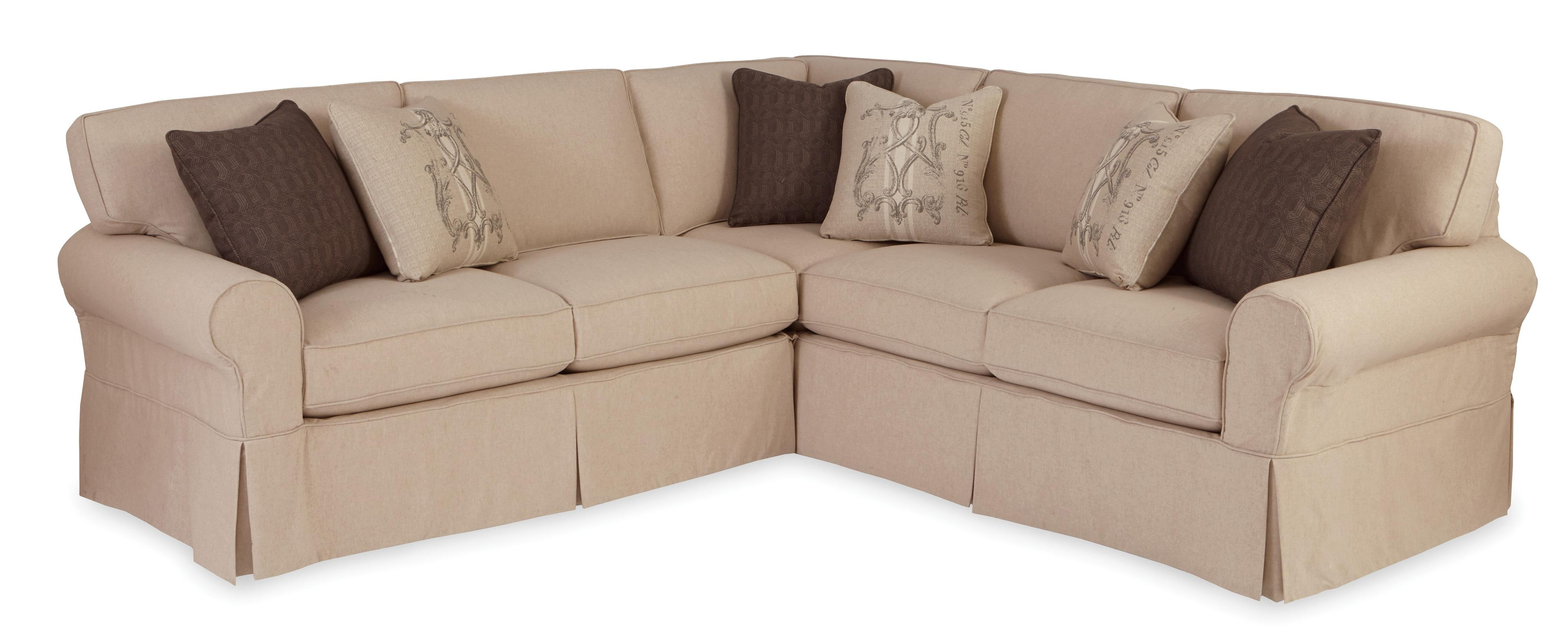 Two Piece Slipcovered Sectional Sofa With Raf Return Sofa Within Craftmaster Sectional Sofa (Image 15 of 15)