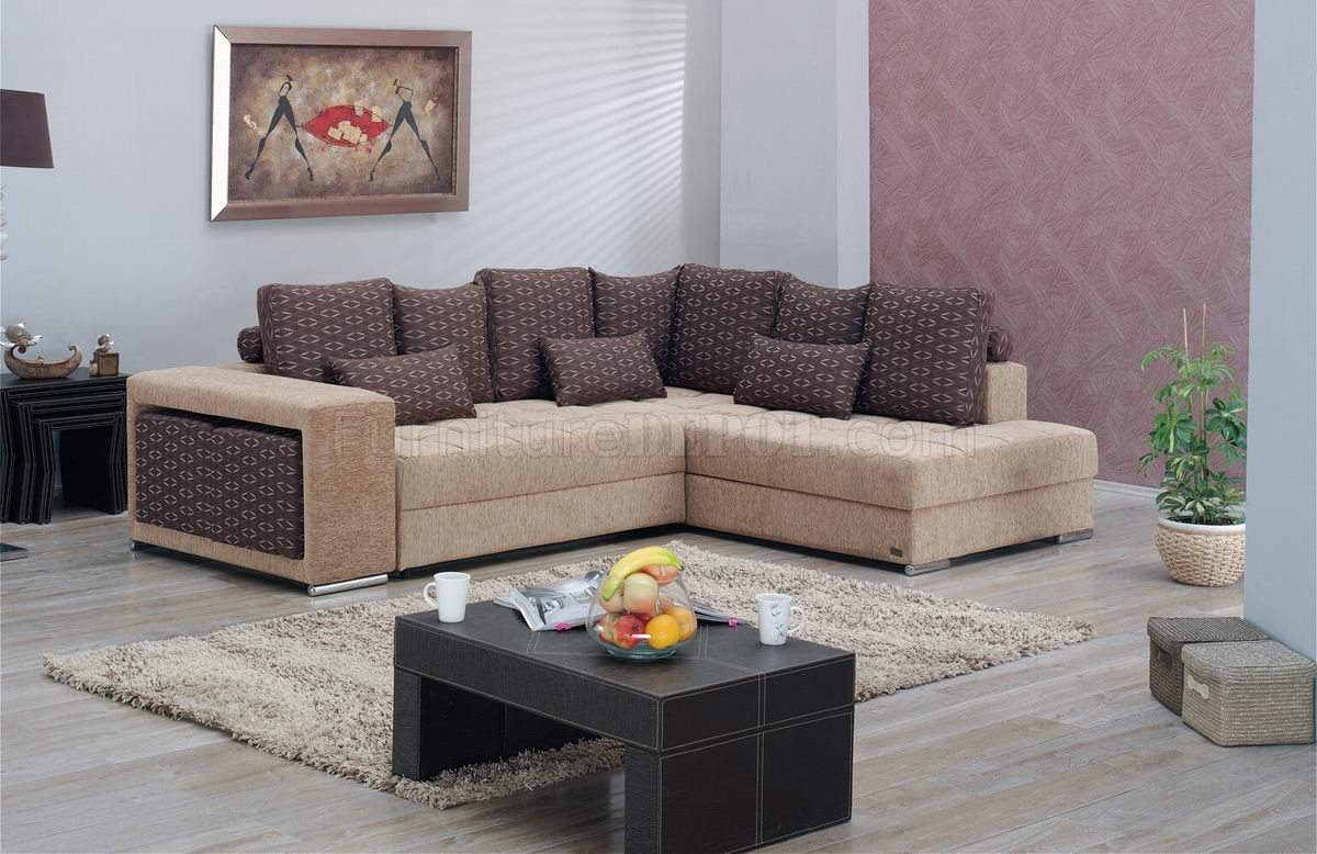 Two Tone Fabric Modern Convertible Sectional Sofa Wstorage Pertaining To Convertible Sectional Sofas (Image 14 of 15)
