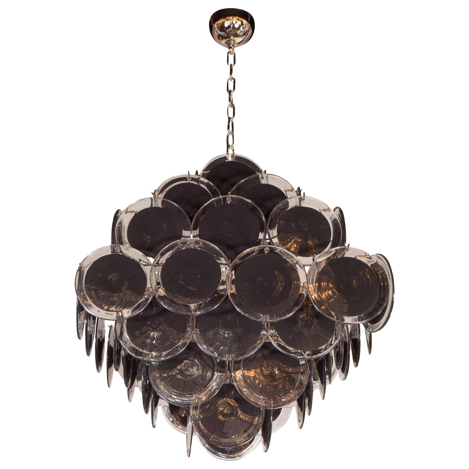 Ultra Chic Modernist Diamond Shaped Black Murano Glass Chandelier Intended For Black Glass Chandelier (Image 14 of 15)
