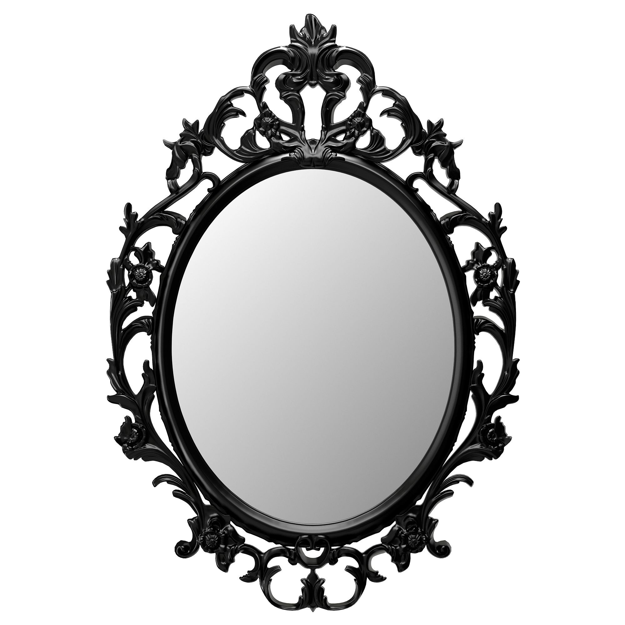 Ung Drill Mirror Ovalblack 59×85 Cm Ikea Within Black Baroque Mirror (Image 14 of 15)