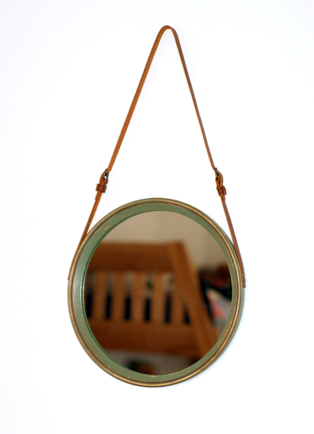Unique Leather Strap Mirror Amsterdam Circle Mirror Rustic Regarding Round Mirror Leather (Image 13 of 15)