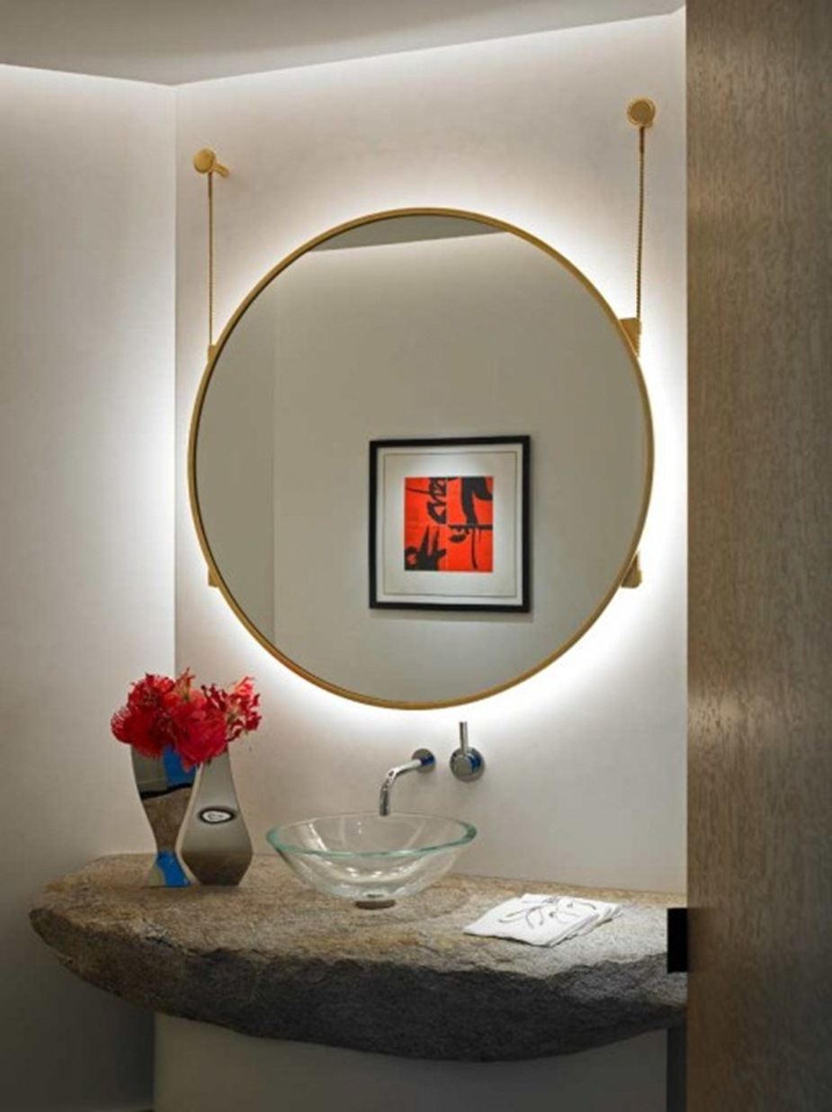 Unique Powder Room Design With Huge Hanging Round Mirror With Throughout Unique Round Mirrors (Photo 8 of 15)