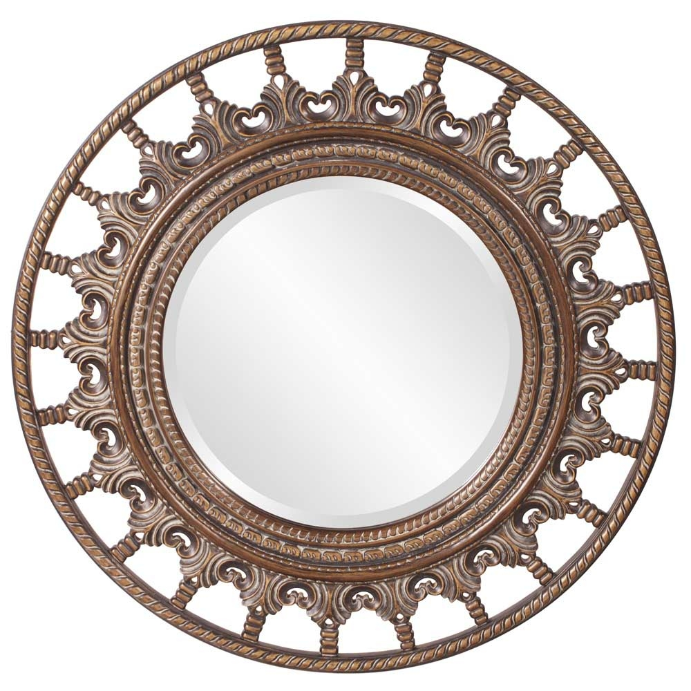 Unique Round Mirror With Antique Accents Hre 077 Accent Mirrors Regarding Unique Round Mirrors (Photo 2 of 15)