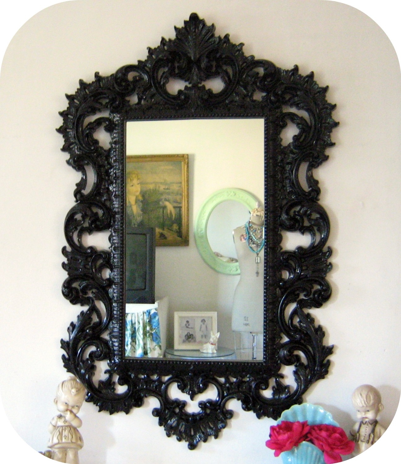 Upcycled Large Vintage Ornate Baroque Mirror Black Pertaining To Baroque Mirror Black (Photo 1 of 15)