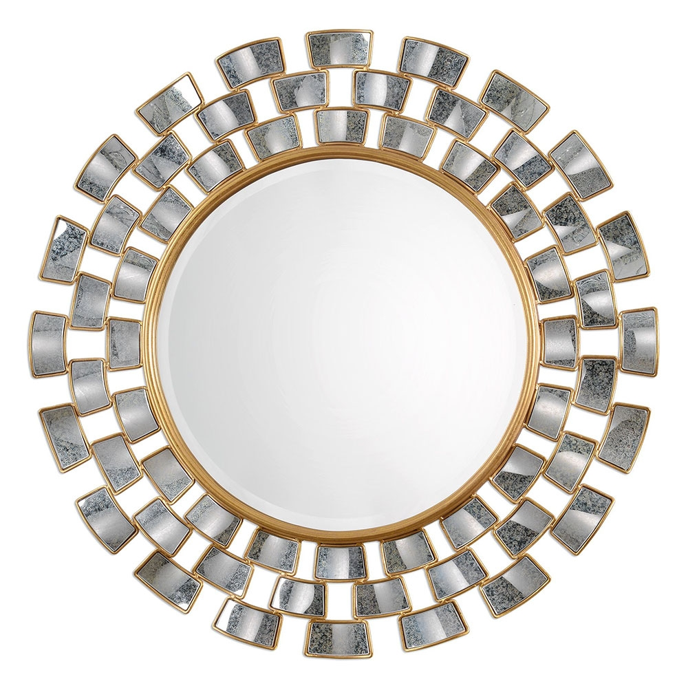 Uttermost 09107 Rachida Contemporary Heavily Antiqued Gold Leaf Within Round Antique Mirrors (Image 13 of 15)