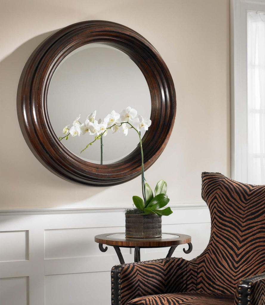 Uttermost Cristiano Round Dark Wood Mirror 01901 B With Regard To Large Round Wooden Mirror (Image 14 of 15)