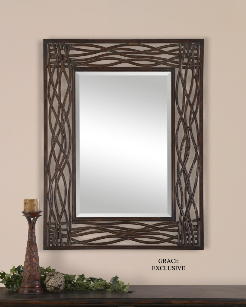 Uttermost Dorigrass Brown Metal Mirror 13707 Pertaining To Large Metal Mirror (Photo 2 of 15)
