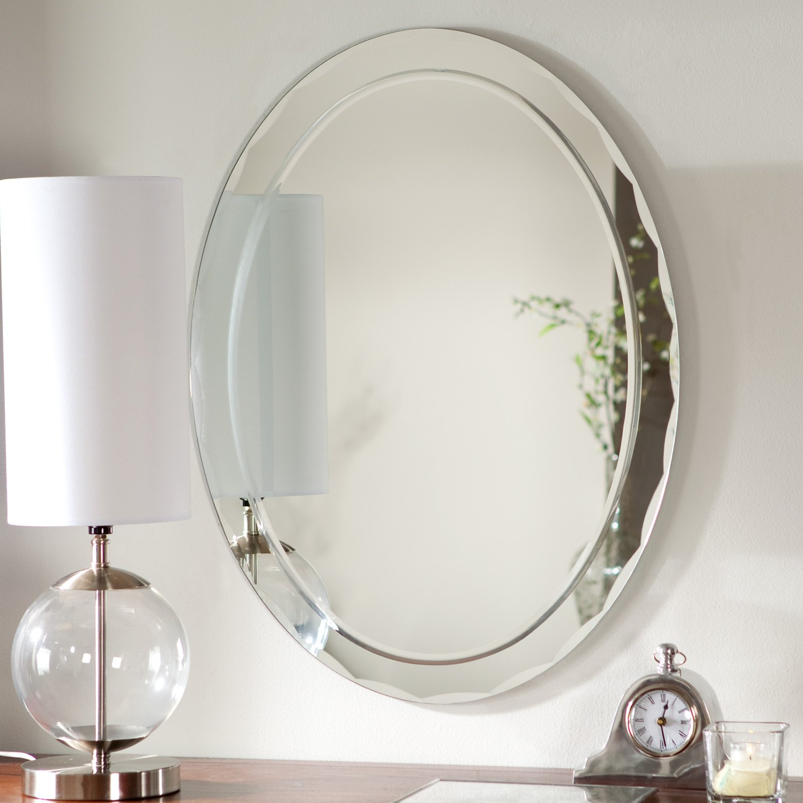 Uttermost Frameless Oval Beveled Vanity Mirror Mirrors At Hayneedle In Oval Bevelled Mirror (Image 13 of 15)