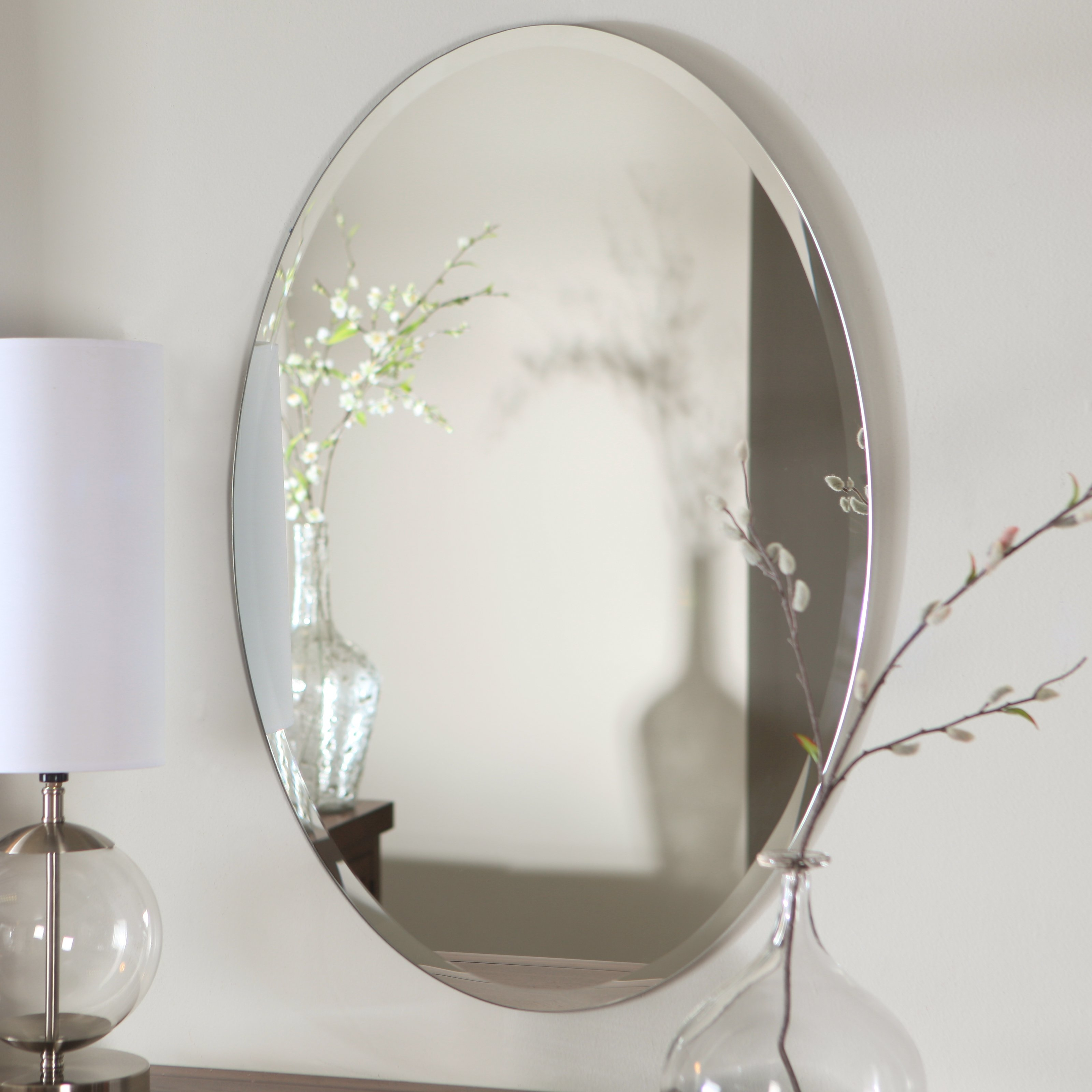 Uttermost Frameless Oval Beveled Vanity Mirror Mirrors At Hayneedle Intended For Large Oval Mirrors (Image 15 of 15)