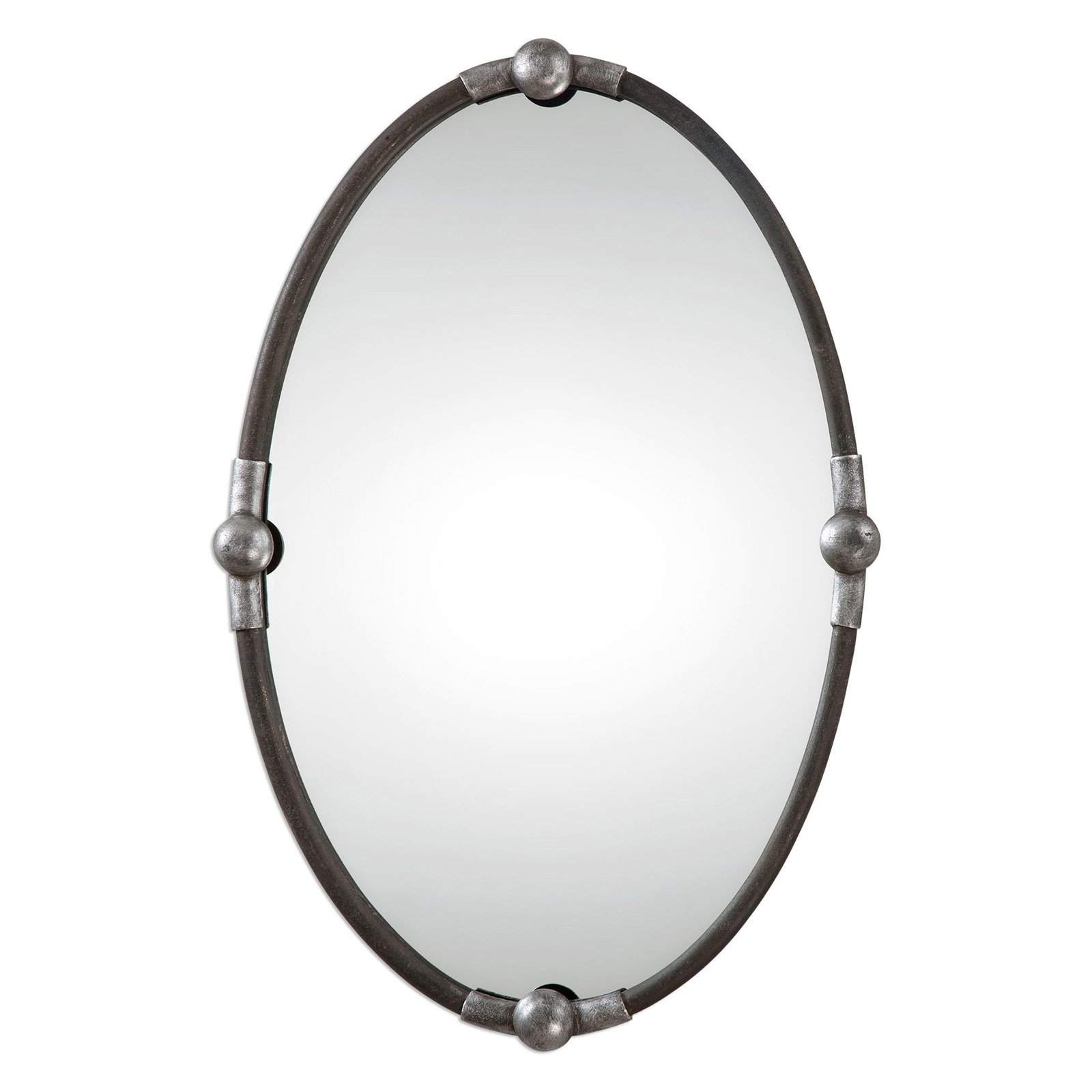 Uttermost Sherise Nickel Finish Oval Beveled Mirror 22w X 32h In Within Black Oval Mirror (Image 15 of 15)