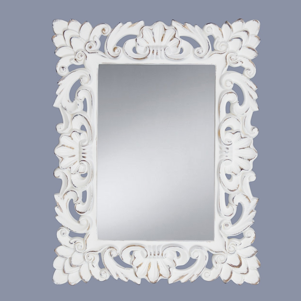 V I S I O N S Framed Mirrors Inside Distressed Cream Mirror (Image 14 of 15)